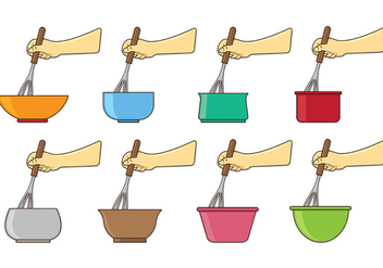 Set Of Mixing Bowl Vectors - Kostenloses vector #416735