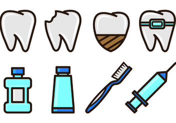 Set Of Dentista Icons - vector #416925 gratis