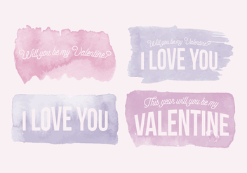 Vector Valentine's Day Watercolor Messages - Free vector #416945