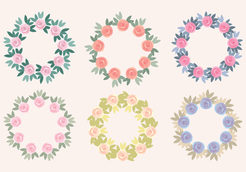 Vector Rose Wreaths Collection - бесплатный vector #416965