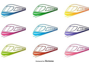 Colorful Train Vector Silhouettes - vector #417265 gratis