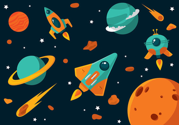 Starship Cartoon Free Vector - vector gratuit #417275