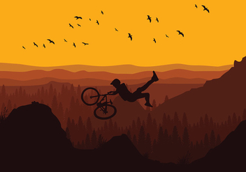 Bike Trail Evening Free Vector - vector gratuit #417295