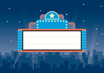 Free Retro Theater Sign Illustration - vector gratuit #417305