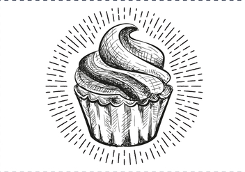 Free Hand Drawn Cupcake Background - бесплатный vector #417385