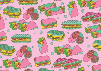 Panini Sandwich Pattern Vector - Free vector #417485