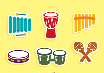 Traditional Music Instrument Icons Vector - бесплатный vector #417525