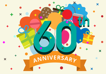 60th Anniversary Vector Illustration - бесплатный vector #417575