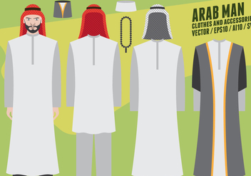 Arab Man Clothes and Accessories - vector gratuit #417595