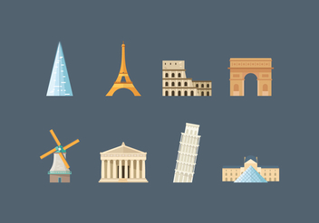 Free Europe Landmark Vector Icons - vector #417625 gratis