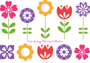 Cute Spring Flowers Collection - бесплатный vector #417795