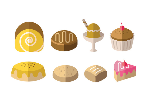 Desserts and other sweet meals - Free vector #417815