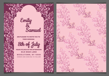 Vector Pink Delicate Wedding Invitation - vector gratuit #417855