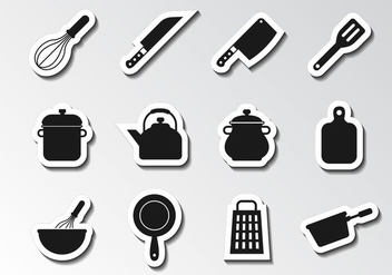 Free Kitchen Utensils Icons Vector - vector gratuit #417995