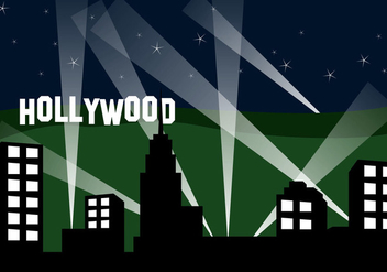 Hollywood Landscape At Night - Kostenloses vector #418005