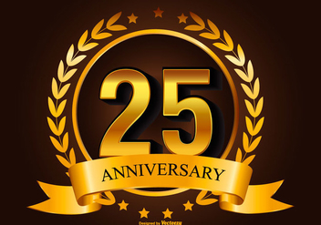 Golden 25th Anniverasry Illustration - Free vector #418015