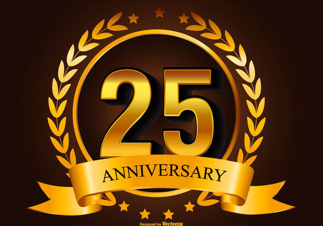 Golden 25th Anniverasry Illustration - Kostenloses vector #418015