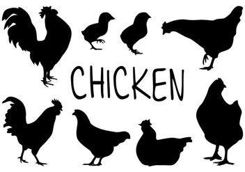 Chicken Silhouette Vectors - бесплатный vector #418045
