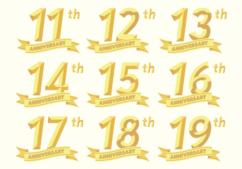11th to 19th anniversary badges - vector #418065 gratis