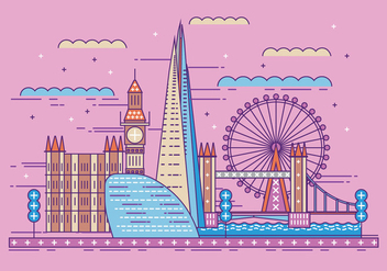 Vector Illustration The Shard and The London Skyline - Free vector #418175