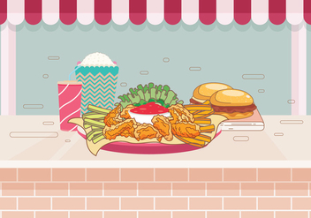 Buffalo Wings at the Table Vector - vector #418205 gratis