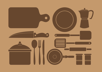 Siluetas Kitchen Set Free Vector - vector gratuit #418275