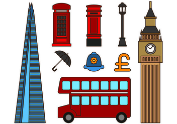 Set Of London Icons - vector gratuit #418535