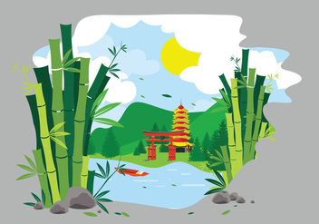 Green bamboo lanscape china illustration - Free vector #418565