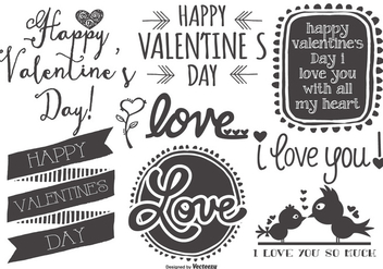 Cute Sketchy hand Drawn Valentine's Day Labels - vector #418605 gratis