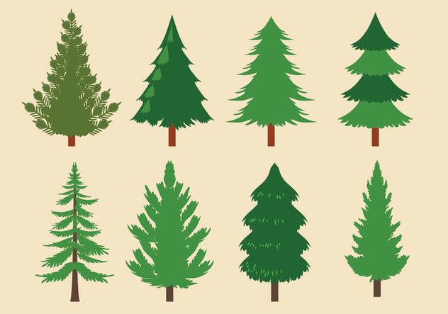 Vector Collection of Christmas Trees or Sapin - vector gratuit #418625