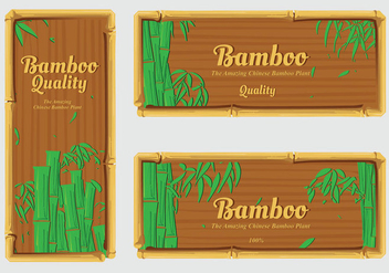 Banner label bamboo vector pack - бесплатный vector #418635