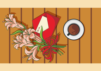 Illustration Of Easter Lily On The Table - vector gratuit #418685