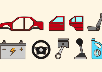 Set Of Auto Body Icons - vector #418985 gratis