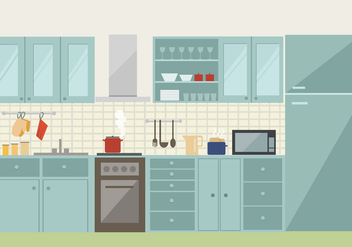 Free Vector Kitchen Illustration - Free vector #418995