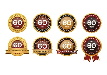 60TH Anniversary Badges Vectors - бесплатный vector #419095