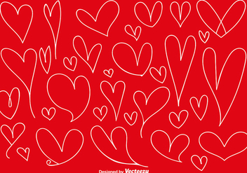 Vector Set Of Doodle Hearts - Free vector #419165