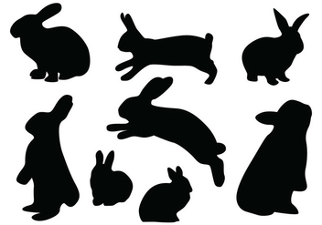Rabbit Silhouette Vectors - бесплатный vector #419395