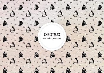 Free Vector Ink Christmas Pattern With Hats And Hearts - Free vector #419475