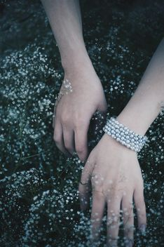 Female hands in gypsophila - image #419655 gratis