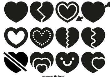 Vector Hearts Icons Set - vector gratuit #419775