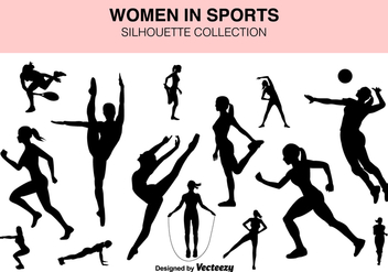 Vector Set Of Sport Women Silhouettes - Free vector #419905