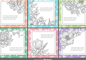 Retro Floral Vector Text Frames - vector gratuit #419945