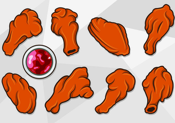 Vector Of Buffalo Wings - vector #420055 gratis