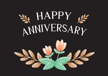 Peach Flower Anniversary Card - Free vector #420275