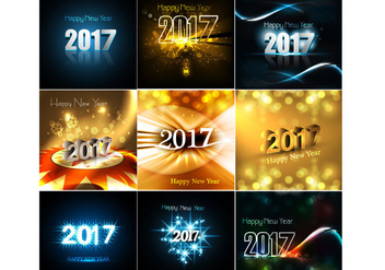 Set Of Happy New Year 2017 Cards - Free vector #420365
