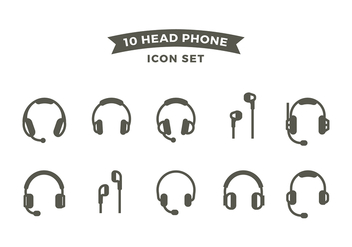 Head Phone Line Icon Set Free Vector - Free vector #420635