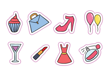 Hen Party Hand-Drawn Icons - vector #420645 gratis