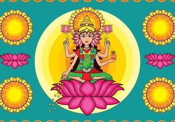 Colorful Goddess Lakshmi Vector - Kostenloses vector #420675