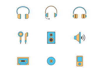 Set of Music Vector Icons - vector gratuit #420715