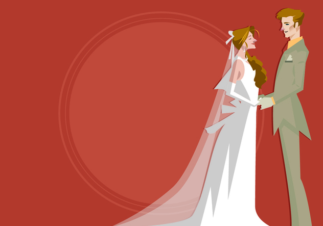 Bride and Groom Standing Together Vector - бесплатный vector #420775